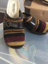 Skechers USA Size 8 Cord Suede Multi Stripe Wedge Clog Heels