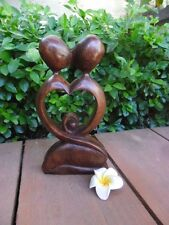 Balinese Abstract Kissing Couple love heart - wood carving - 20cm