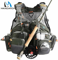 Maxcatch Fly Fishing Mesh Vest Adjustable Mutil-Pocket Outdoor Universal Size