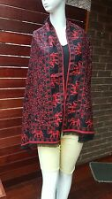 Red & Black Double Sided floral with Elephant Border Shawl Scarf Cover up Cape