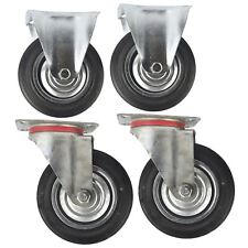 """6"""" (150mm) Rubber Fixed and Swivel Castor Wheel Trolley Caster (4Pack) CST09_010"""