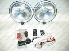 2x Jeep Wrangler JK Front Bumper Lights Bar Fog Driving Lamps Black Crome Round