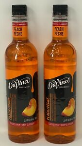 2 DaVinci Gourmet Classic Flavored Syrup Peach 25.4 oz each Plastic Bottle