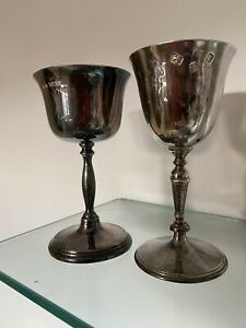 Two 17th Century  Style Silver Wine Goblets
