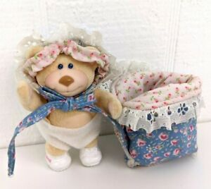 Vintage 80s Furskins Thistle Bear Toy in Sleeping Bag Panosh Place 1986 Figure