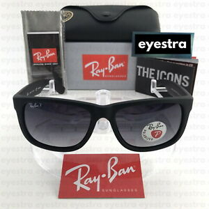 RayBan Justin Polarized Sunglasses RB4165 622/T3 55mm Matte Black Grey Gradient