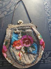 Antique Victorian Beaded Rose Purse Engraved Brass Clasp - Silk Lining - Clean