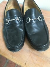 Men's Cole Haan Black Leather Driving Moccasin 10 1/2 Silver Horse Bit Hardware