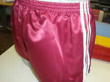 Retro Nylon Satin Football Shorts S - 4XL, Claret - White