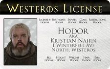 HODOR / Game of Thrones Kristian Nairn  novelty collectors card Drivers License