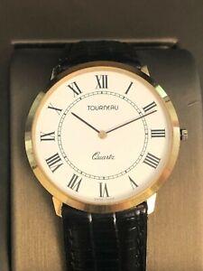 Tourneau Men's Quartz Movement White Dial Extra Slim Watch