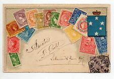 TIMBRES gaufrés sur cartes Embossed stamps on card Blason VICTORIA