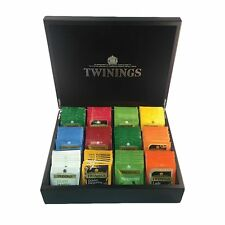 BN Twinings Glossy Black Tea Display Box Brass Hinges & 120 Mixed Wraped Teabags