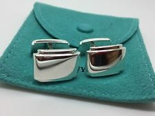Vintage Tiffany Co Sterling Silver Metropolis Cufflinks Cuff Links Pouch