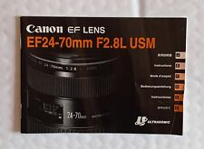 Instructions,Information for Canon EF 24-70  f 2.8L   Lens