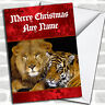 Lion And Tiger Personalized Christmas Card