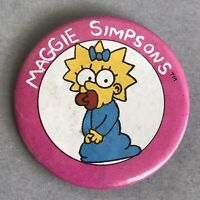 Vintage PINBACK BUTTON MAGGIE SIMPSONS Girl Metal Pin Family Simpson Brooch 90s