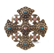 Vintage Bronze Celtic Cross Crucifix Crystal Costume Jewellery Adjustable Ring
