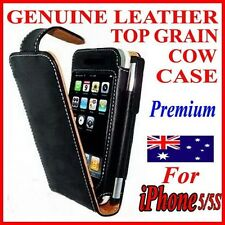 Premium Genuine Leather Case Cover For iPhone 5/5S 5 Gen(Top Cowhide Flip Pouch)