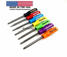 Enderes Tool 7pc 2 in 1 High Visibility Pocket Screwdriver Set Phillips Flat USA