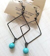 Dangling Dark Brass Diamond & Turquoise Bead Western Unique Boho Earrings