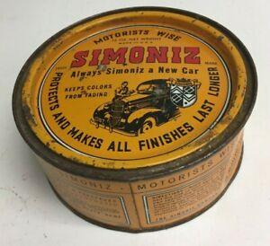 Vintage Simoniz Car Automobile Paste Wax Polish 16 Oz Tin Can Mostly Full