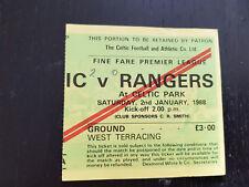 Sammler Used Ticket / Entrada Celtic Glasgow FC v Glasgow Rangers 02-01-1988