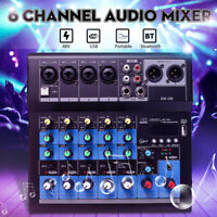 6 Channel USB bluetooth Sound Live Studio Audio Mixer Mixing console Karaoke.