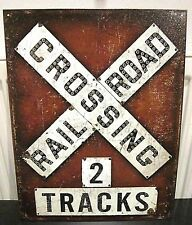 RAILWAY CROSSING/ 2 TRACKS ,ANTIQUE-FINISH METAL WALL SIGN 40x30 cm TRAINS