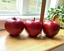 "Vintage 3 PCS Extra Large 6"" Faux Red Apples Plastic Food Kitchen Home Decor"