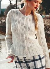 (58) DK Knitting Pattern for Women's Cable Cardigan with Peplum