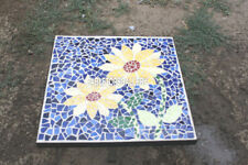 30'' White Marble Coffee Top Console Table Inlay Lapis Mosaic Stone Decor H3960A