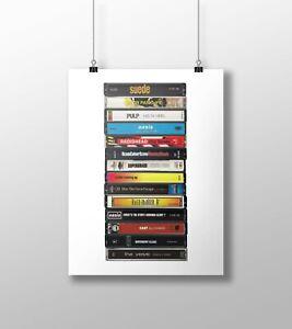 Britpop Poster: Cassette Print, '90s Music, Oasis, Blur, Pulp, Fan, Gift, Art