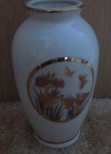 "Fine China Japan Floral 6 1/2"" Vase Orange flowers and Butterflies Gold Rim"
