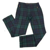 Vintage Ralph Ralph Lauren Pants Womens 4 Blue Green Plaid Wool Zip Pockets