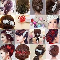 CL Crystal Diamante Rhinestone Flower Pearl Hair Pin Slide Clip Grip Comb Bridal