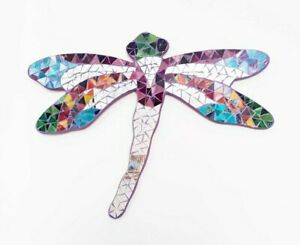 Mirrored mosaic/wood Pink Dragonfly wall art plaque decoration L36cm x W45cm-NEW