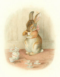A Rabbits Tea Party  by Beatrix Potter   Paper Print Repro