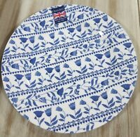 NEW (4) Churchill Earthenware Blue White Floral Dinner Plates Made in England