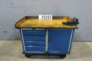 Fahrbare Werkbank Werktisch Werkstattwagen Werkzeugwagen mit Schraubstock #35207