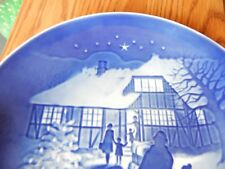 Bing & Grondahl 1973 Christmas Plate Denmark Danish Blue Jul Country Christmas