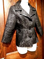 BLACK METALLIC DAMASK BLAZER brocade jacket goth noir career top petite 8 M 1A