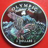 1996 COOK ISLANDS $2 SILVER PROOF COLORED BALD EAGLE OLYMPIC PARK MOUNTAIN 30mm