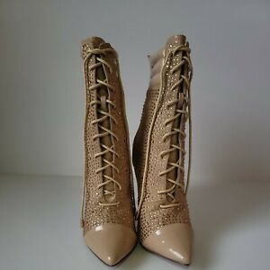 Liliana Rhinestone suede and patent pointy toe Lace up work booties. Pre-owned