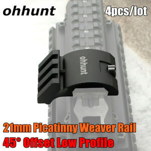 Ohhunt 45 Degree Offset Low Rifle Picatinny 20mm Rail Base Mount For Laser Scope