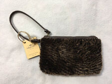 Patricia Nash Piedmont Laser Cut Sherpa Chocolate Brown Leather Wallet Wristlet