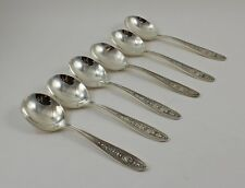 "International Wedgwood Sterling Silver Cream Soup Spoons 6"" - Set of 6 - No Mono"