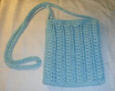 VINTAGE BUT UNUSED PALE BLUE ZIPPED TOP CROCHET SHOULDER BAG VERSATILE CHIC