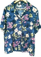 R & D Collection Blue Floral Print Short Sleeve Button Front Shirt Top Size XL