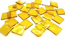 "110 Mosaic Tiles 1/2"" Bright Sun Yellow Transparent Stained Glass Fusing"
